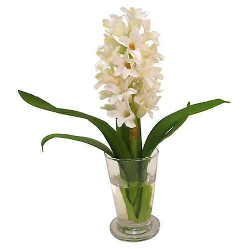"11"" Hyacinth in Parfait Vase, White"