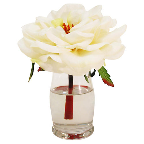 "9"" Rose in Hourglass Vase, White"