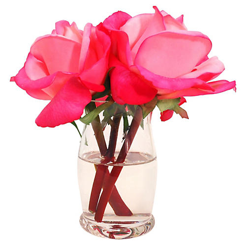 "6"" Roses in Hourglass Vase, Faux"
