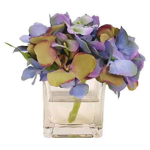 """6"""" Hydrangea in Cube Vase, Faux"""