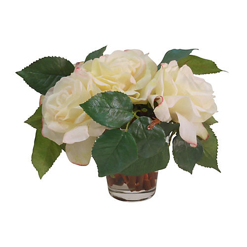 "10"" Duchess Roses in Vase, Faux"