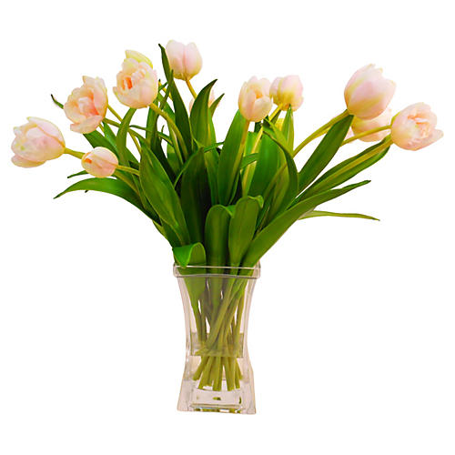 "20"" Tulips in Square Vase, Faux"