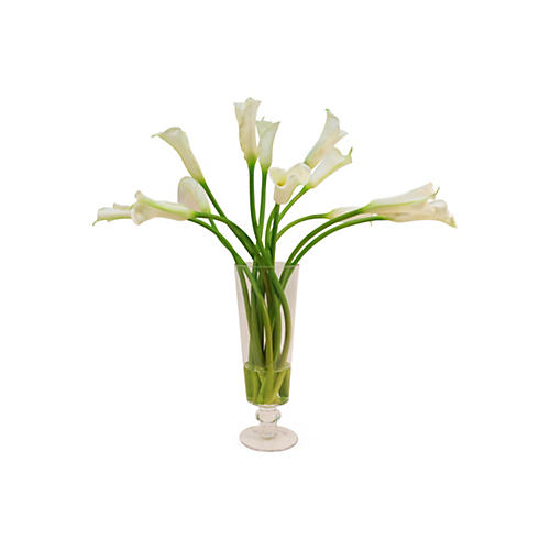 "27"" Calla Lilies in Glass Vase, Faux"