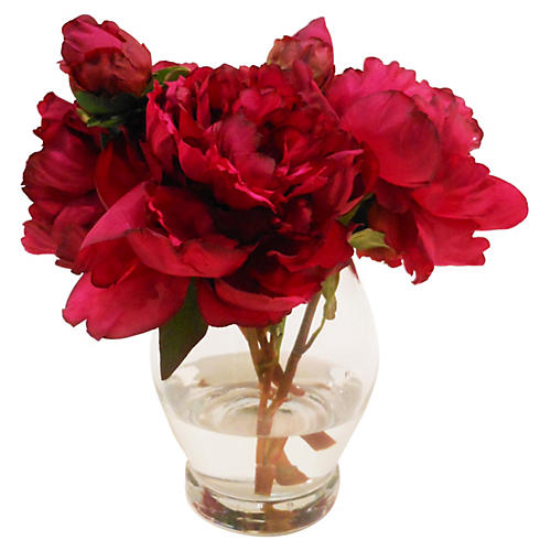 "10"" Peonies in Rose Bowl, Red"