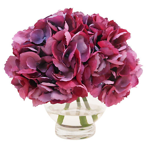 "10"" Hydrangea in Rose Bowl, Purple"