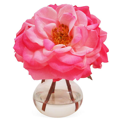 "8"" Roses in Bubble Neck Vase, Faux"