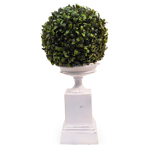 "18"" Boxwood Ball on Pedestal, Faux"