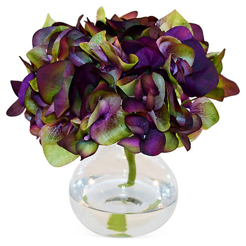 "8"" Hydrangea in Bubble Vase, Purple"