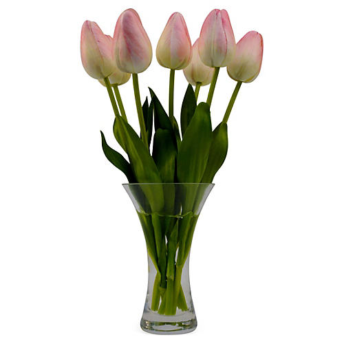 "11"" Tulips in Flared Vase, Faux"