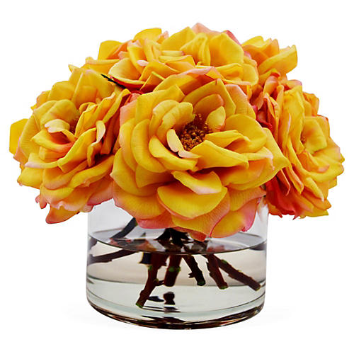 "11"" Bloomed Roses in Vase, Faux"