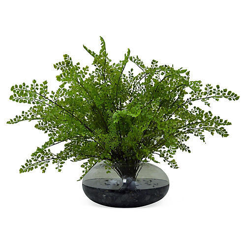 "24"" Maiden Hair Fern in Vase, Faux"