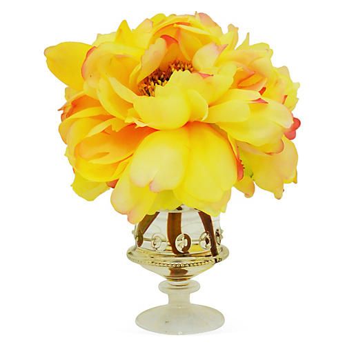 """10"""" Peony in Vase, Faux"""