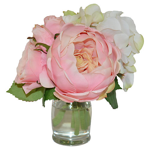 """8"""" Peony Mix in Vase, Faux"""