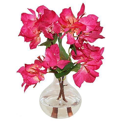 """10"""" Bougainvillea in Bubble Vase, Faux"""