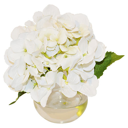 "8"" Hydrangea in Bubble Vase, Faux"