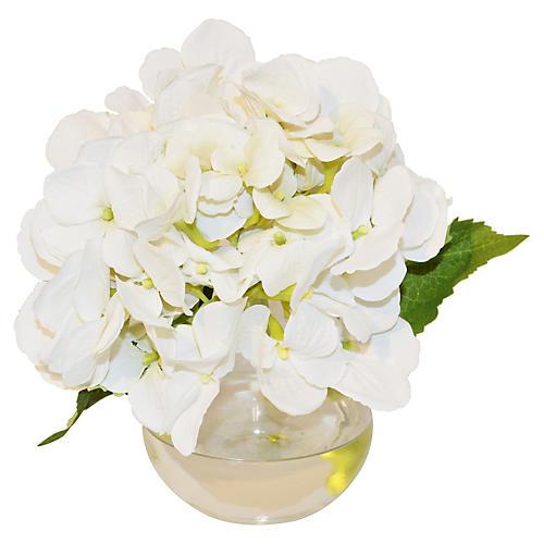 """8"""" Hydrangea in Bubble Vase, Faux"""