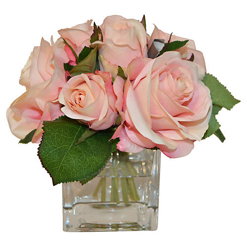 """7"""" Roses in Cube Vase, Faux"""