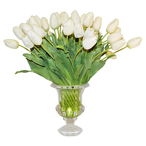 White Tulips In Glass Urn