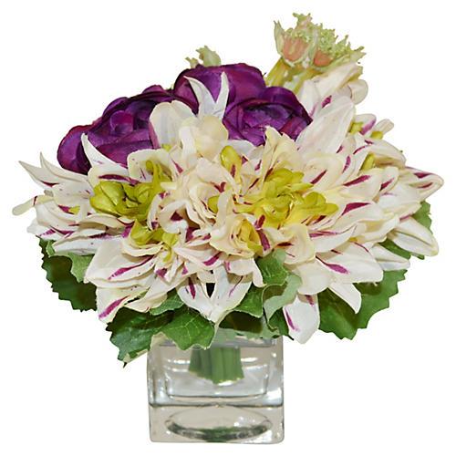"""8"""" Ranunculus Arrangement in Vase, Faux"""