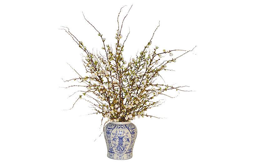 Cherry Blossom Arrangement in Vase, Faux