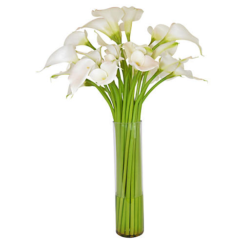 "38"" White Calla Lilly Arrangement, Faux"