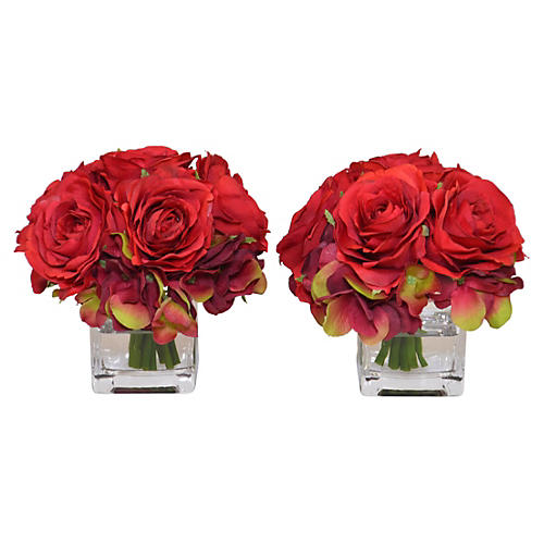 "S/2 5"" Red Rose Arrangements, Faux"