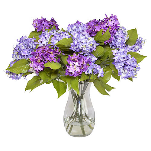 Purple Lilacs in Glass Vase, Faux