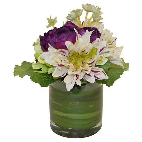 """9"""" Dahlias & Ranunculus in Vase, Faux"""