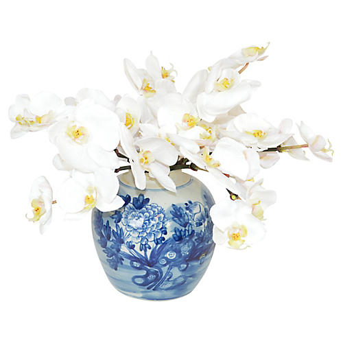 "14"" White Moth Orchids in Jar, Faux"