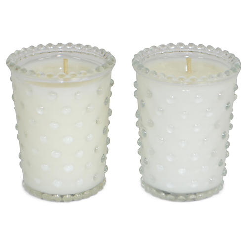 S/2 Hobnail Candles, Hydrangea