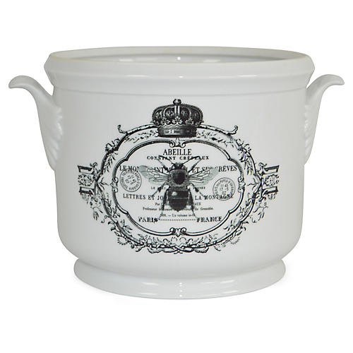 "9"" Royal Bee Cachepot, White/Black"