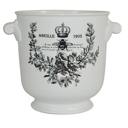 "8"" Abeille 1905 Planter, White/Black"