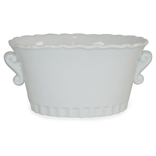 "7"" Scrolled Cachepot, White"
