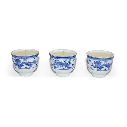 S/3 Phoenix Candles, Lavender