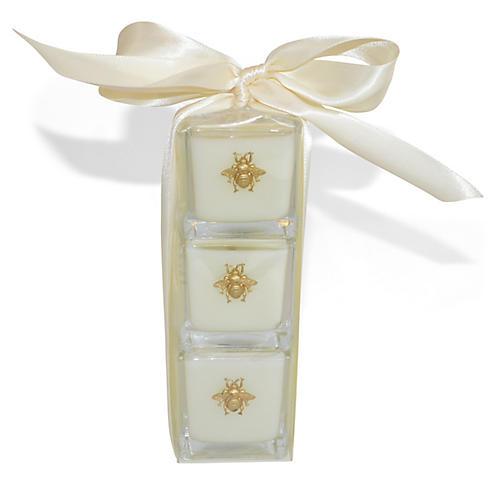 S/3 Bee Candles, Gardenia/Hydrangea/Lavender