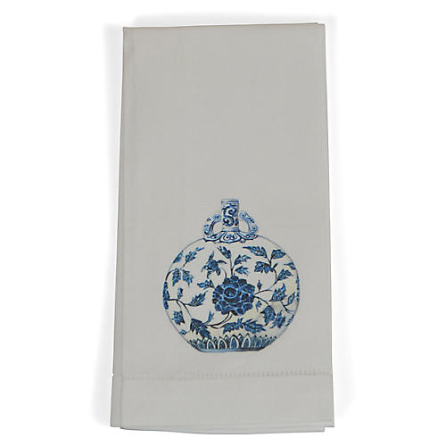 S/4 Jar Dinner Napkins, Blue/White