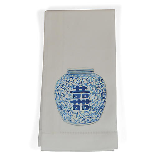 S/4 Happiness Jar Dinner Napkins, Blue