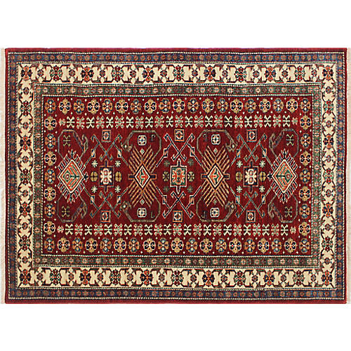 """4'2""""x5'6"""" Axe Rug, Red/Ivory"""