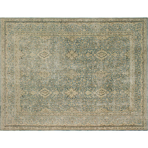"""9'6""""x13' Andriel Hand-Knotted Rug, Blue/Beige"""