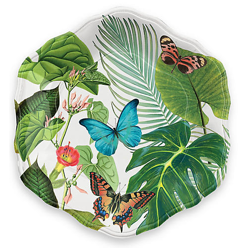 S/12 Amazon Floral Melamine Dinner Plates, Green