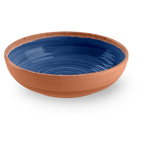 S/6 Rustic Swirl Melamine Bowls, Indigo