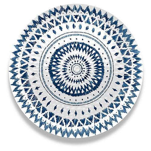 Indochine Ikat Melamine Platter, Blue