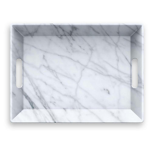 Carrara Handled Melamine Serving Tray, White
