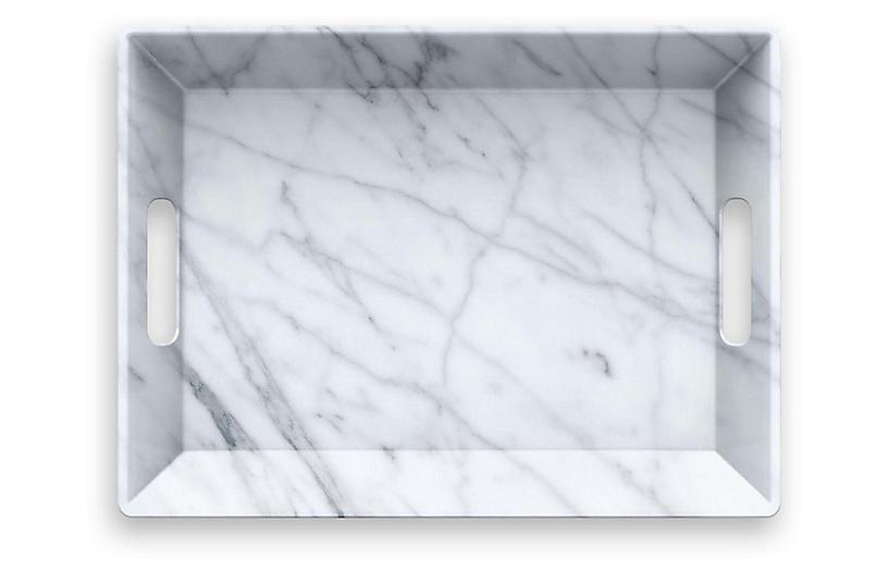 Carrara Handled Melamine Serving Tray, White