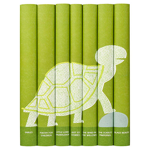S/7 Children's Set in Green Turtle Jackets Books