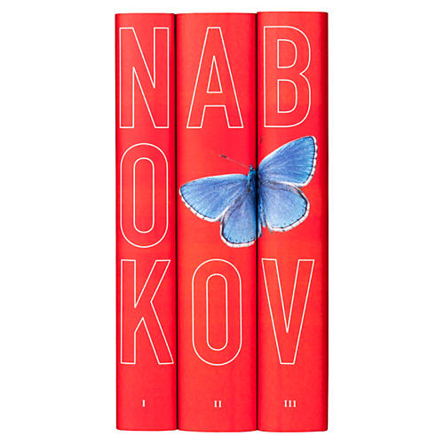S/3 Nabokov Butterfly Book Collection