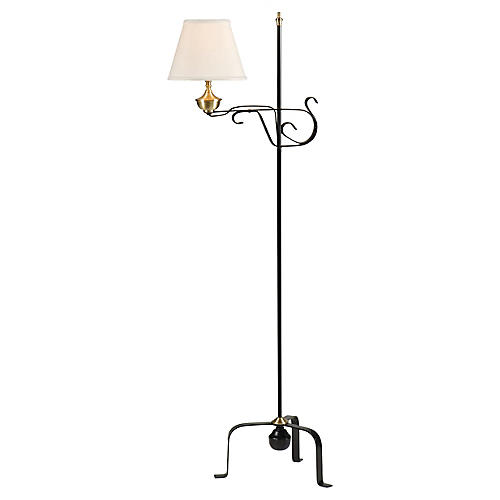 Colonial Floor Lamp, Black/Brass