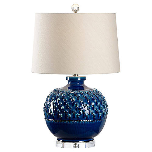Carlotta Table Lamp, Indigo Glaze