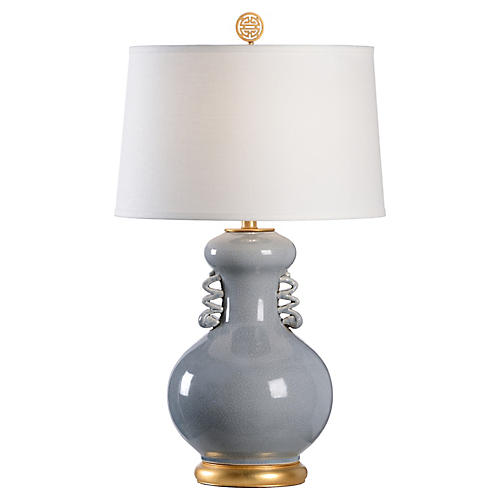Chan Table Lamp, Slate Glaze/Gold