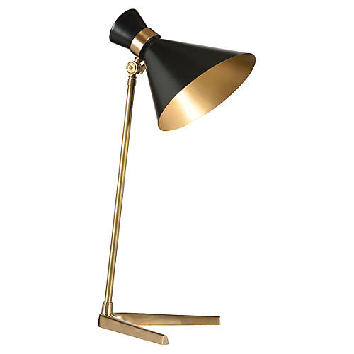 Right Angle Table Lamp, Polished Brass